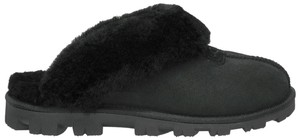 UGG Australia Coquette Sheepskin Winter Casual Fuzzy Slippers Black Flats