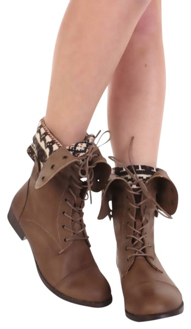 Item - Taupe Combat Tribal Prints Fold Over New Boots/Booties Size US 10