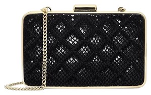 Michael Kors Quilted Leather Chain Strap Crossbody Snake Embossed Black Clutch