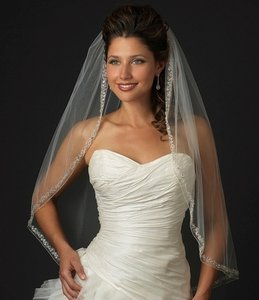 Elegance By Carbonneau Rhinestone And Crystal Beaded Fingertip Wedding Veil V2078