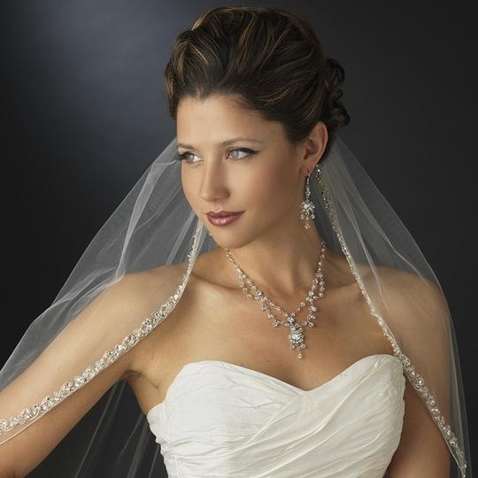 Elegance by Carbonneau White Medium Rhinestone and Crystal Beaded Fingertip V2078 Bridal Veils