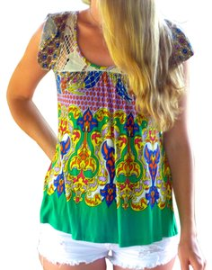 Urban Outfitters Psychedelic 1960's Baby Doll Tunic Flowers Colors Size Small Monteau T Shirt Bright multi purple green orange blue yellow