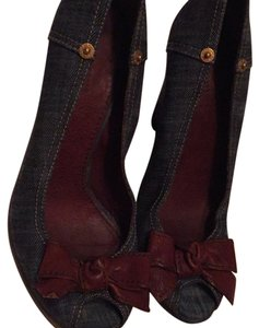 Miu Miu Denim (brown leather bows) Wedges