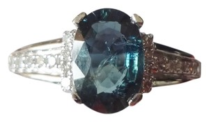 Thai 1.38ct NATURAL UNTREATED BLUE SAPPHIRE&DIAMOND 14k GOLD RING