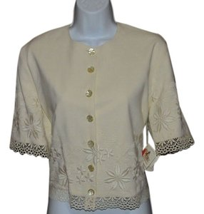 Double D Ranchwear Color Lace And Embroidery Around The Sleeves And Hem Floral Embroidery Flower Embossed Buttons Pads Included Short Ivory Jacket