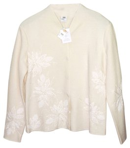 Talbots Beaded Sequin Off White Jacket