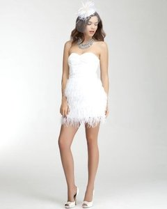 bebe White Feather Skirt and Sequins Bodice Isis Formal Wedding Dress Size 10 (M)