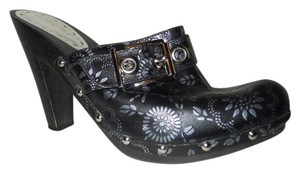 BCBGeneration Leather black & silver Mules