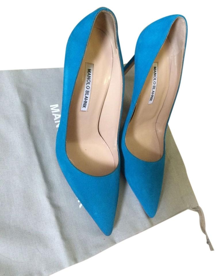3f50ae79ddfb0 Manolo Blahnik Turquoise Suede Bb Pointed Toe 105mm/4