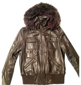 Michael Kors Mk Leather Brown Leather Jacket