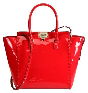 Valentino Rockstud Patent Leather Tote in red