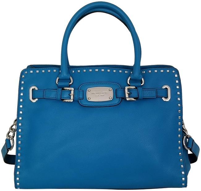 Item - Hamilton Large Whip Stitched (New with Tags) Summer Blue Turquoise/Silver Leather Tote