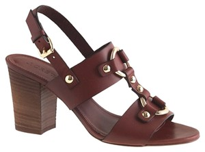 J.Crew Leather Gold Hardware Brown Sandals