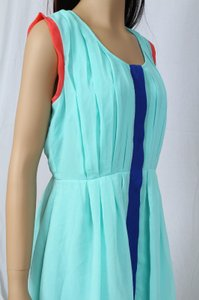 Ark & Co. short dress Mint/Coral/Blue Date Night Color-blocking Pleated Cut-out Spring Turquoise Girls Night Out Designer Anthropologie Mocloth Keyhole Beach on Tradesy