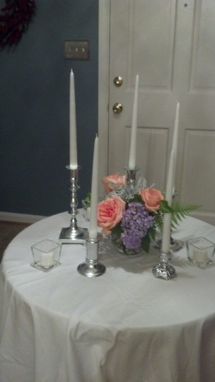 Silver Candlesticks White Tapers Votive Peg Cups Centerpiece