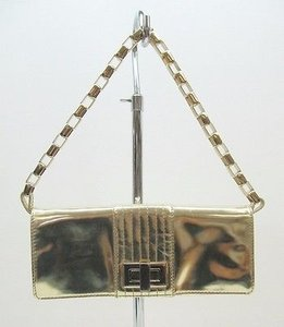Kooba Patent Leather Penelope Handbag Gold Clutch