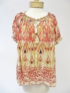 Joie Womens Red Tan Short Top Multi-Color