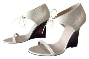 Burberry Leather Winter White Creme Wedges