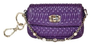 Miu Miu Authentic Miu Miu Purple Nappa Crystal Leather Key Pouch Mini Bag Charm