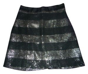 wren Holiday Striped Sequin Classic Mini Skirt Black & Silver