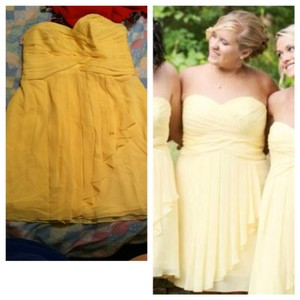 David's Bridal Light Yellow Polyester F14847 Modern Bridesmaid/Mob Dress Size 16 (XL, Plus 0x)
