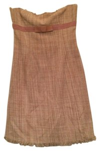 BCBGMAXAZRIA short dress Strapless pink tweed with bow and frayed detail on Tradesy