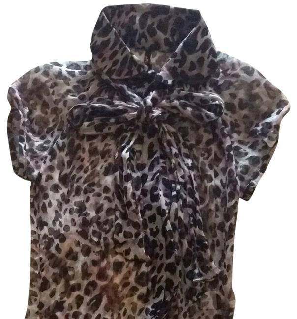 Item - Brown and Black Sheer Animal Print Blouse Size 4 (S)
