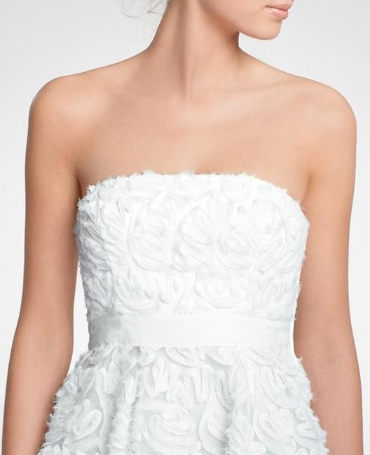 Item - Ivory Polyester Embroidered Tea Length Strapless Modern Wedding Dress Size 8 (M)