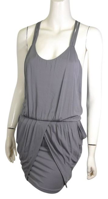 Item - Gray Ruched Mini Night Out Dress Size 4 (S)