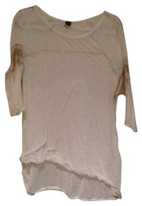 Free People T Shirt Cream/ gold band on arm
