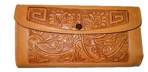 Vintage Mayan scene leather wallet