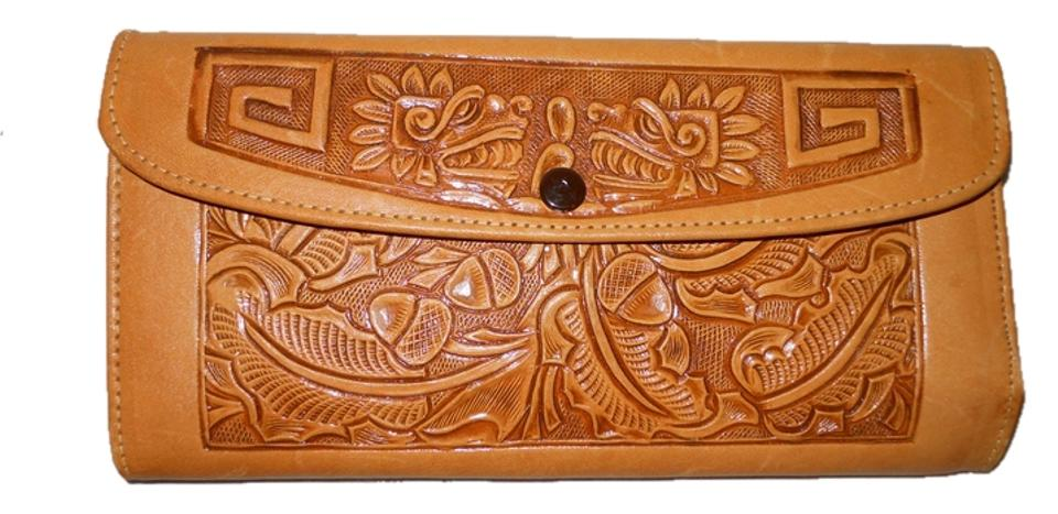 0130d3b817f6 Tan Vintage Mayan Scene Leather Wallet - Tradesy