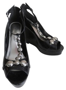 White House | Black Market Peep Toe Platform Whbm Size 8 Black Wedges