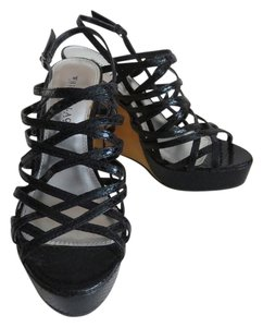 White House | Black Market Strappy Wedge Open Toe Size 8 Black Wedges