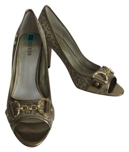 Guess Peep Toe Heels Patent Leather Size 8 Gold Pumps