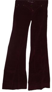 Level 99 Premium Denim Burgundy 70s Inspired Bohemian Bell Super Flare Pants
