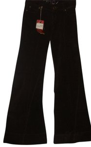Level 99 Premium Denim Corduroy Low Rise Flair Bell Bohemian Flare Pants Brown