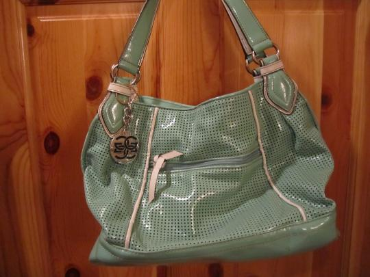 Genna Derossi Teal And White Platinum Collection With Amazing Silver Hardware Details Shoulder Bag