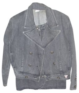 Guess By Marciano Marciano Guess Jeans black denim chambray short button wrap skirt matching denim motorcycle moto short jacket coat jacket outerwear