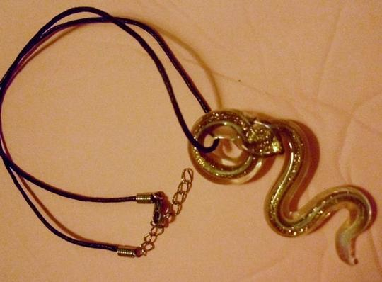 Other Murano glass coiled cobra snake serpent pendant charm on black cord necklace