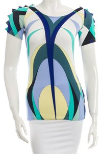 Emilio Pucci Multicolor Print Abstract Shortsleeve Logo Monogram 8 New M Medium 42 Cut Out Top Blue, Green, White