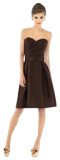 Preload https://img-static.tradesy.com/item/696138/alfred-sung-brown-536-mid-length-cocktail-dress-size-4-s-0-0-650-650.jpg