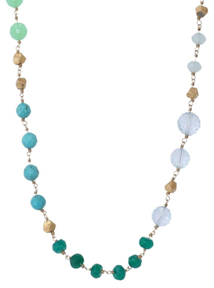 stella dot turquoise jade green gold necklace 47