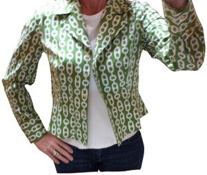 Jones New York Fitted Unlined Lightweight Green and white Jacket