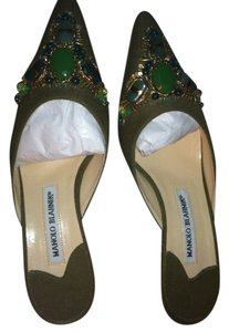 Manolo Blahnik New Embellished Kitten Heels Night Out Pumps Green Linen Mules