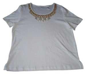 Alfred Dunner Short Sleeve Crewneck Top White