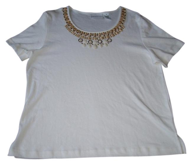 Alfred Dunner Short Sleeve Crewneck Beaded Accents Cotton/polyester Top White