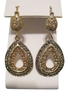 INC International Concepts 12K GOLD PLATED GLASS ACCENT DROP EARRINGS