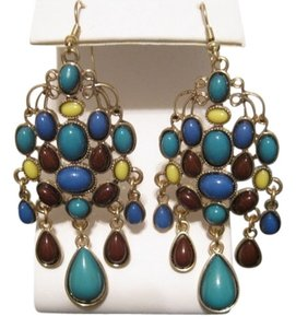 Style & Co STYLE AND COMPANY GOLD TONE DANGLE MULTI COLOR EARRINGS