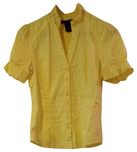 Antilia Femme V-neck Fitted Work Attire Professional Wear Ruffle Top Yellow